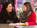 The popular actress works on location with co-star Jessie Wallace.