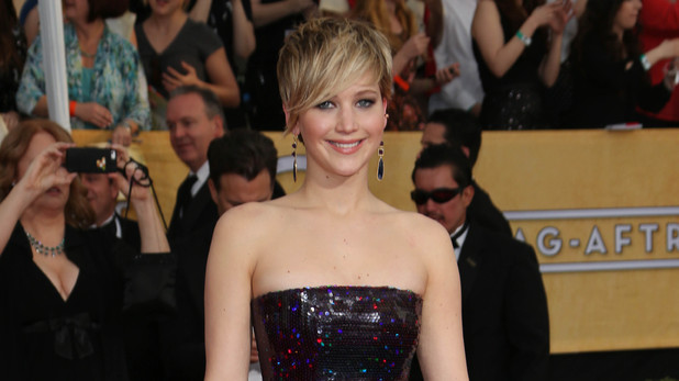 Jennifer Lawrence on the SAG awards red carpet, January 18, 2014