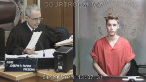 Justin Bieber appears in front of judge via video link in Miami