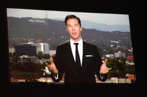 Benedict Cumberbatch accepts the award for Best TV Detective via videolink during the 2014 National Television Awards at the O2 Arena, London