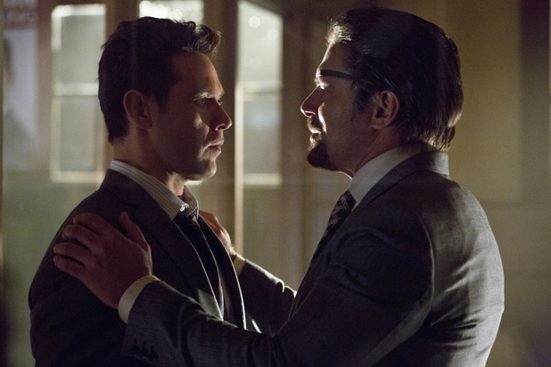 Kevin Alejandro as Sebastian Blood and Manu Bennett as Slade Wilson in 'Arrow' S02E11: 'Blind Spot'