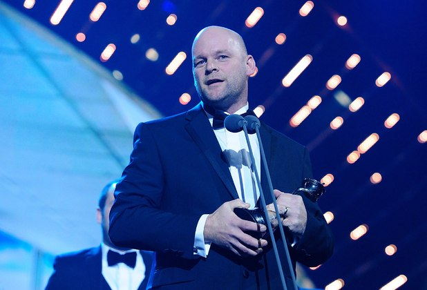 Jonny Mitchell collecting the best documentary series award on stage during the 2014 National Television Awards at the O2 Arena, London