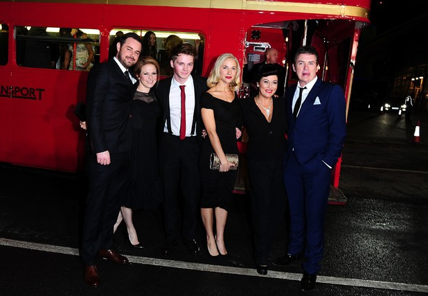 Danny Dyer, Kellie Bright, Sam Strike, Maddy Hill, Jessie Wallace and Shane Richie arriving on a London Red Bus for the 2014 National Television Awards at the O2 Arena, London