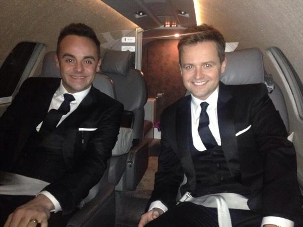 Ant and Dec flying to the 2014 National Television Awards