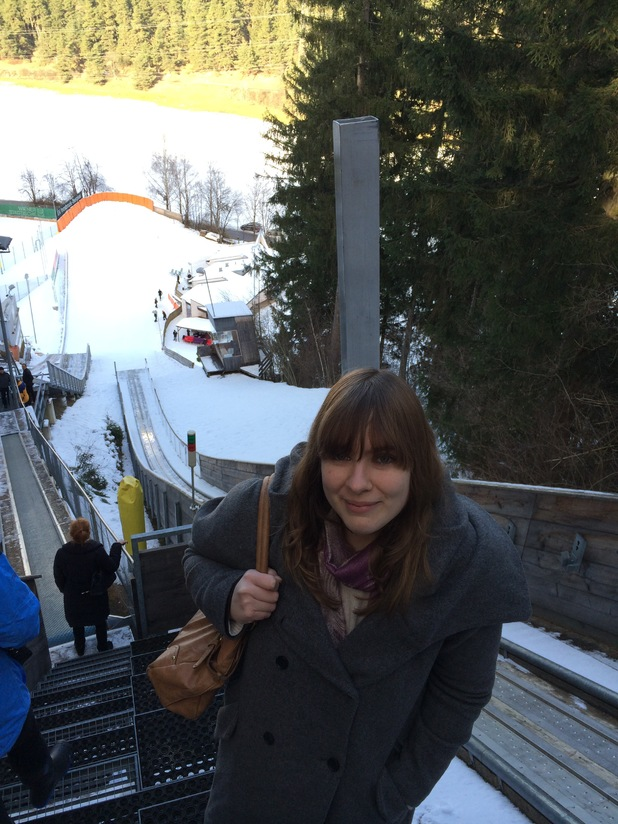 Digital Spy's Catriona at the top of The Jump