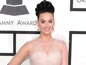 Katy Perry arrives at the 56th annual Grammy Awards