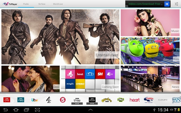 Screenshot of TVPlayer for tablets