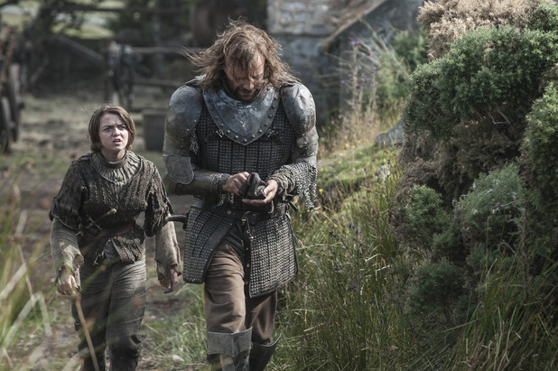 "Game of Thrones season 4: first look -   Maisie Williams and Rory McCann as Arya Stark and Sandor ""The Hound"" Clegane"