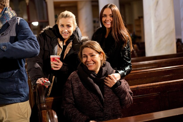 Gemma Merna, Nicole Barber-Lane and Jennifer Metcalfe behind the scenes