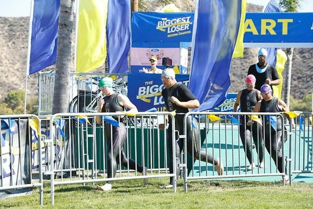 The contestants take part in the triathlon during episode 14 of The Biggest Loser