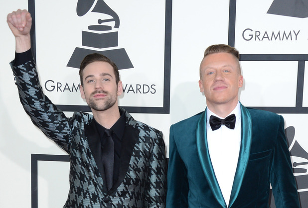 Ryan Lewis and Macklemore arriving at the 56th annual Grammy Awards