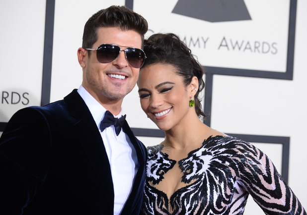 Robin Thicke and Paula Patton arriving at the 56th annual Grammy Awards