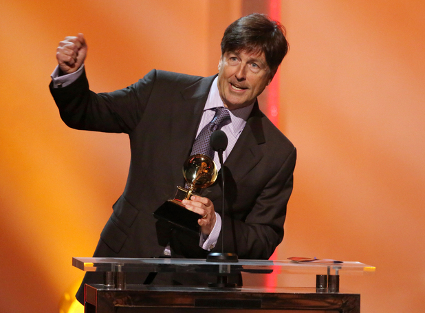 "Thomas Newman accepts the best score soundtrack for visual media award for ""Skyfall"" at the pre-telecast of the 56th annual GRAMMY Awards"