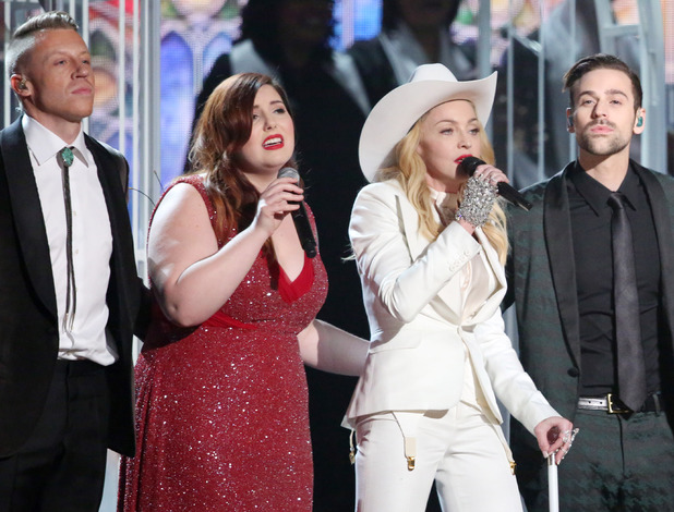 "Macklemore, Mary Lambert, Madonna, Ryan Lewis and Queen Latifah appear on stage during a performance of ""Same Love"" at the 56th annual Grammy Awards"