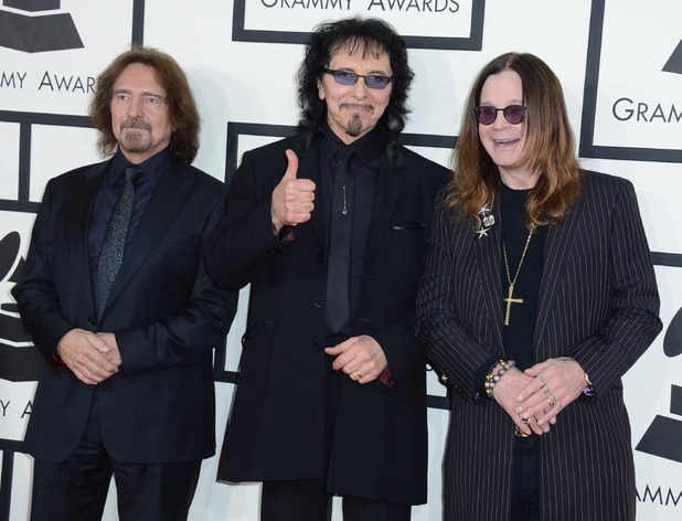 Black Sabbath arriving at the 56th annual Grammy Awards