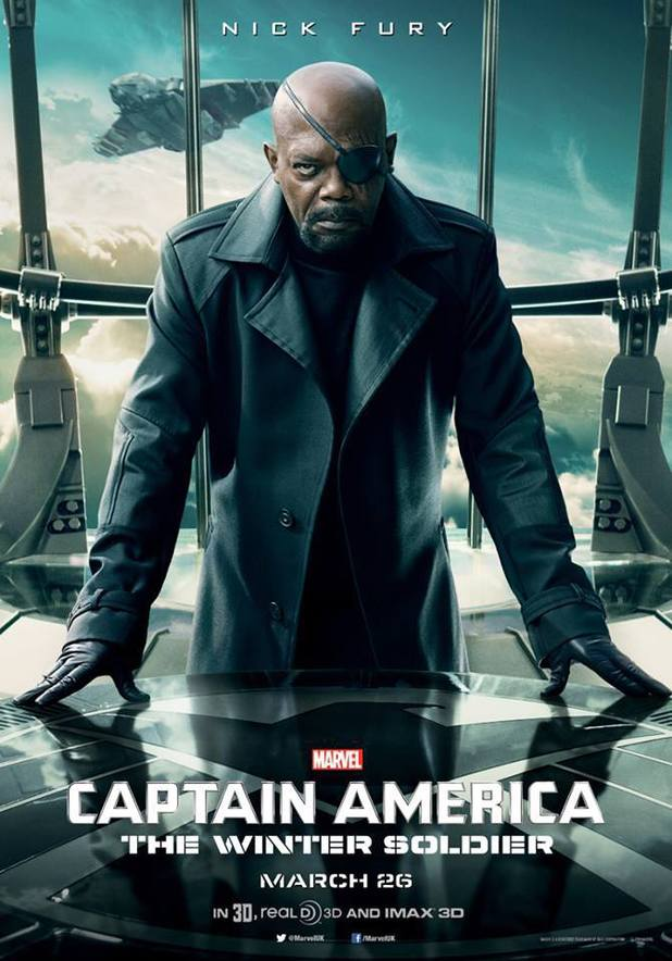 Samuel L Jackson as Nick Fury in Captain America: The Winter Soldier character poster