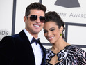 Robin Thicke tells fans at Atlantic City gig that he is staying positive after split.