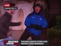 Jim Cantore calmly deals with an excitable student while presenting the weather.