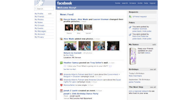 Facebook's first News Feed