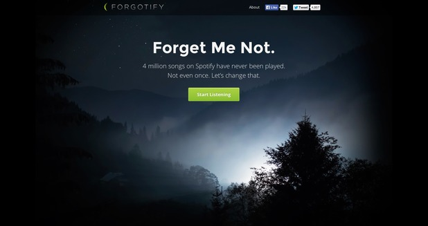 Forgotify website screenshot