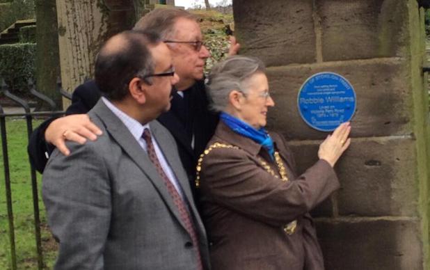 Robbie Williams blue plaque in Stoke-on-Trent