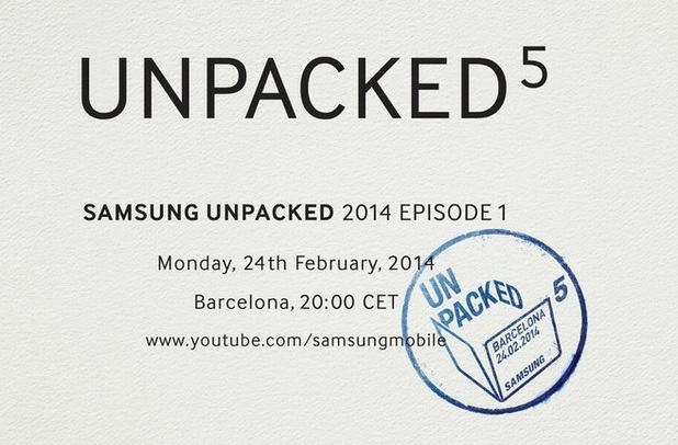 Invitation for Samsung's Unpacked 5 event at MWC