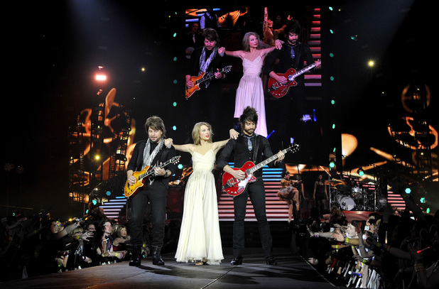 Taylor Swift performs on stage as she kicked off The RED Tour at London's O2 Arena