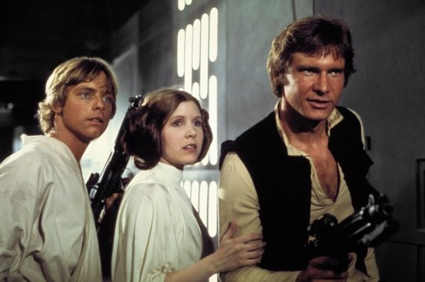 Harrison Ford, Carrie Fisher and Mark Hamill in Star Wars IV - A New Hope