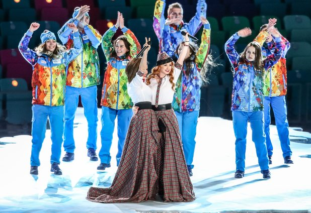 Russian pop duo t.A.T.u. perform at the Sochi 2014 Winter Olympic Games Opening Ceremony