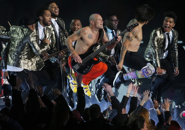The Red Hot Chili Peppers and Bruno Mars perform during the halftime show of the NFL Super Bowl XLVIII football game