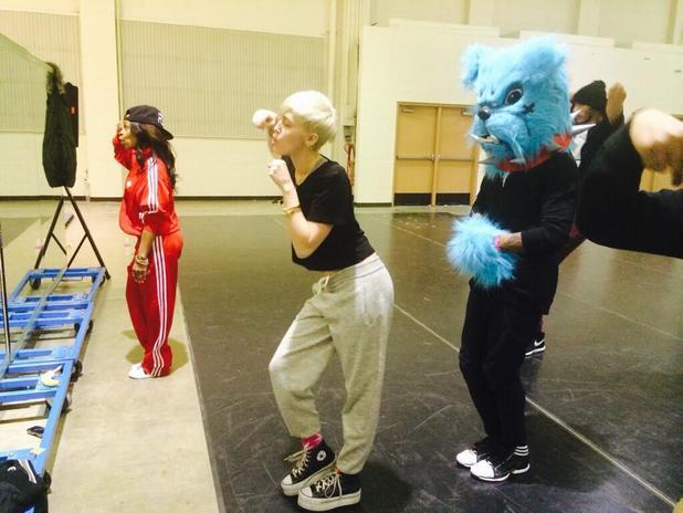 Miley Cyrus 'Bangerz' tour rehearsals.