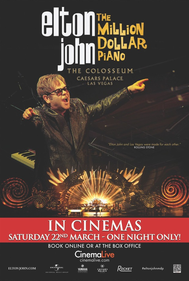 Elton John 'The Million Dollar Piano' cinema poster.