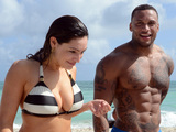 MIAMI BEACH, FL - FEBRUARY 03: Kelly Brook and David McIntosh are seen on February 3, 2014 in Miami Beach, Florida. (Photo by Dave Lee/GC Images)
