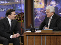 Jimmy Fallon during an interview with Jay Leno on The Tonight Show