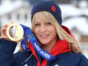 Jenny Jones with her bronze medal won in the Snowboard women's Slopestyle final during the 2014 Sochi Olympic Games