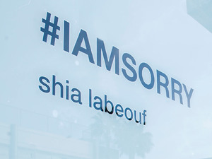 Atmosphere outside Shia LaBeouf's #IAMSORRY art installation