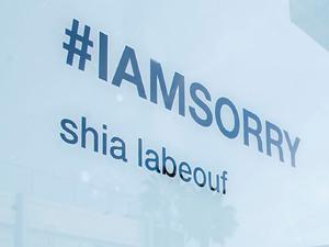 Atmosphere outside Shia LaBeouf's #IAMSORRY art installation