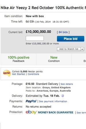 Kanye West Air Yeezy 2 eBay listing.