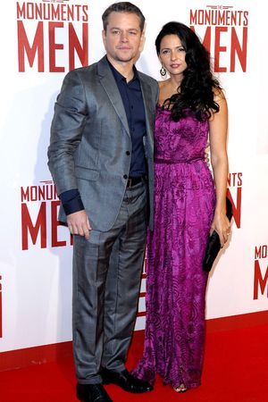 'The Monuments Men' film premiere, London, Britain - 11 Feb 2014 Matt Damon and Luciana Barroso