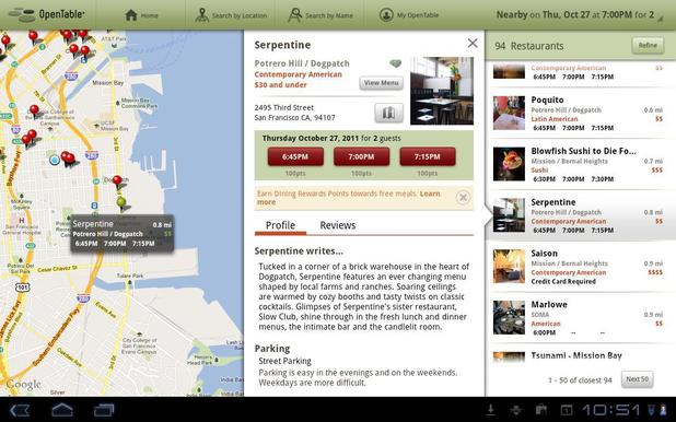 OpenTable mobile app