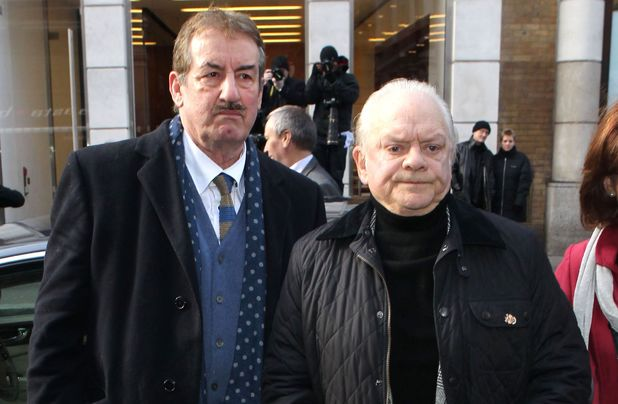 John Challis and David Jason at Roger Lloyd-Pack's funeral