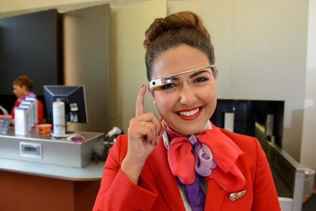 Virgin Atlantic staff member wearing Google Glass