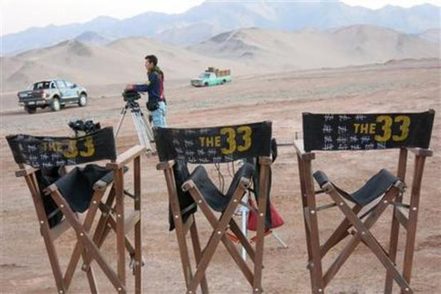 Directors chairs sit in the Chilean desert on set of 'The 33'.