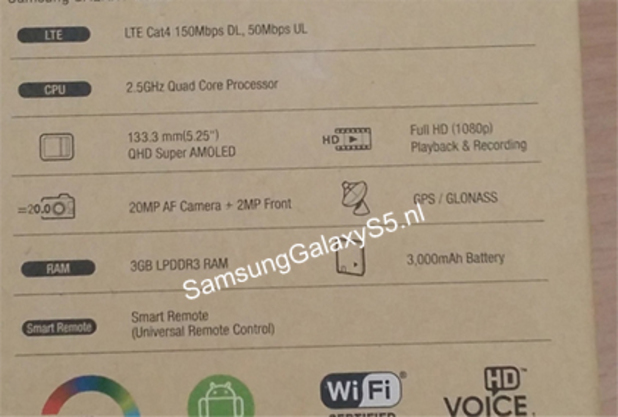 Alleged photo of the Samsung Galaxy S5's packaging