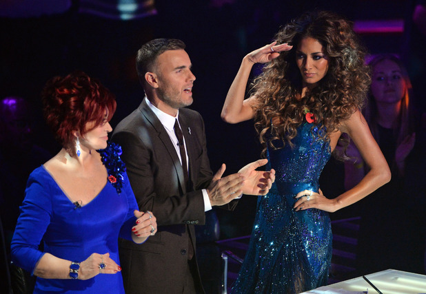 'The X Factor Live Results Show' TV Programme, London, Britain - 25 Nov 2012 Judges, Nicole Scherzinger, Sharon Osbourne, Gary Barlow