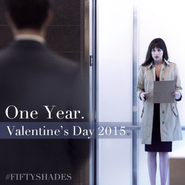 50 Shades Of Grey Valentine's Day promo image marking one year until movie's release.