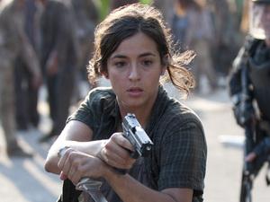 Tara (Alana Masterson) and Glenn (Steven Yeun) in The Walking Dead season 4 episode 10: 'Inmates'