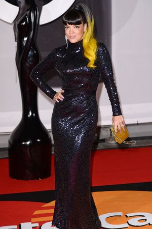Lily Allen arriving for the 2014 Brit Awards at the O2 Arena, London.