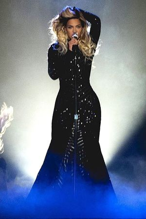Beyonce in concert on her Mrs. Carter World Tour at the SSE Hydro, Glasgow
