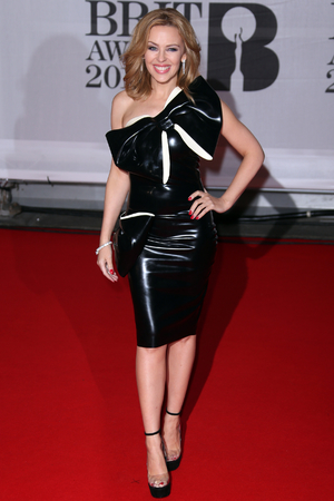 Kylie Minogue arriving for the 2014 Brit Awards at the O2 Arena, London.